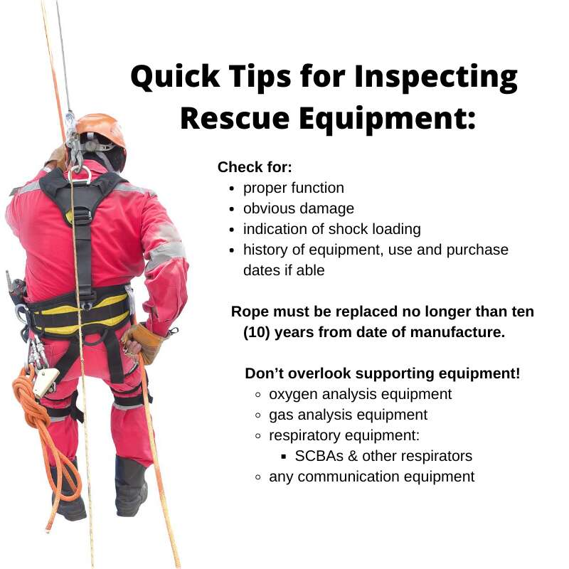 Confined Space Rescue Equipment Inspection Quick Tips